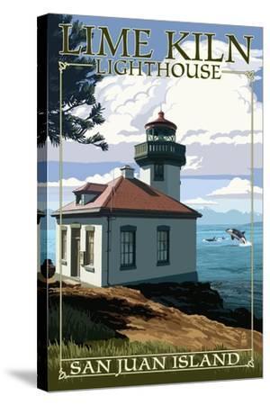 San Juan Island, Washington - Lime Kiln Lighthouse Day Scene-Lantern Press-Stretched Canvas Print
