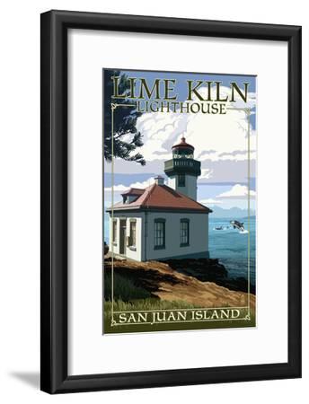 San Juan Island, Washington - Lime Kiln Lighthouse Day Scene-Lantern Press-Framed Art Print