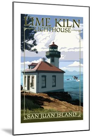 San Juan Island, Washington - Lime Kiln Lighthouse Day Scene-Lantern Press-Mounted Art Print
