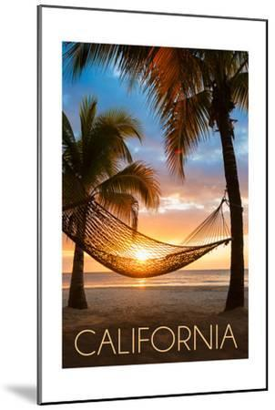 California - Hammock and Sunset-Lantern Press-Mounted Art Print