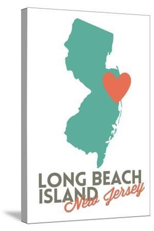 Long Beach Island, New Jersey - Orange and Teal - Heart Design-Lantern Press-Stretched Canvas Print