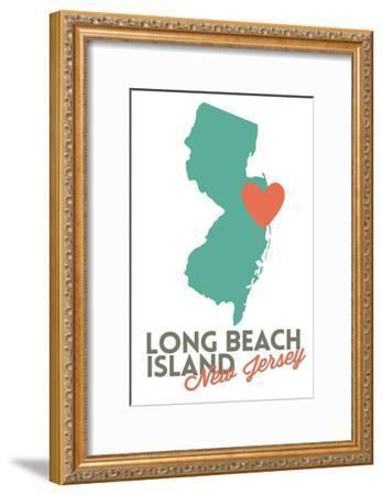 Long Beach Island, New Jersey - Orange and Teal - Heart Design-Lantern Press-Framed Art Print
