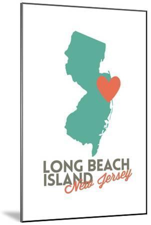 Long Beach Island, New Jersey - Orange and Teal - Heart Design-Lantern Press-Mounted Art Print