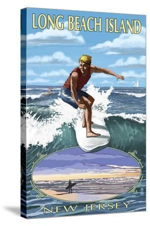 Long Beach Island, New Jersey - Day Surfer with Inset-Lantern Press-Stretched Canvas Print