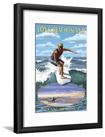 Long Beach Island, New Jersey - Day Surfer with Inset-Lantern Press-Framed Art Print