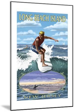 Long Beach Island, New Jersey - Day Surfer with Inset-Lantern Press-Mounted Art Print