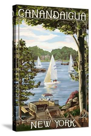 Canandaigua, New York - Lake View with Sailboats-Lantern Press-Stretched Canvas Print