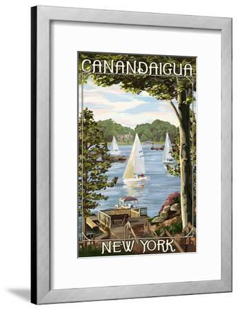 Canandaigua, New York - Lake View with Sailboats-Lantern Press-Framed Art Print