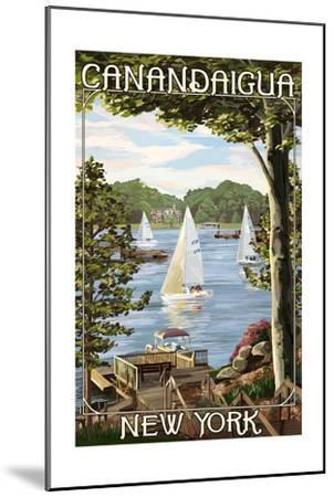 Canandaigua, New York - Lake View with Sailboats-Lantern Press-Mounted Art Print