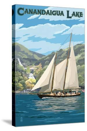 Canandaigua, New York - Sailboat-Lantern Press-Stretched Canvas Print