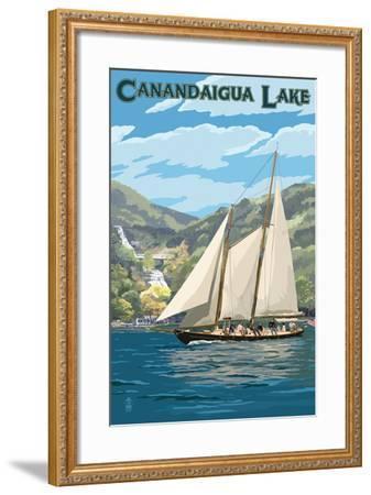 Canandaigua, New York - Sailboat-Lantern Press-Framed Art Print