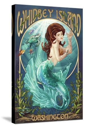Whidbey Island, Washington - Mermaid-Lantern Press-Stretched Canvas Print