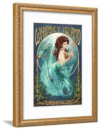 Whidbey Island, Washington - Mermaid-Lantern Press-Framed Art Print