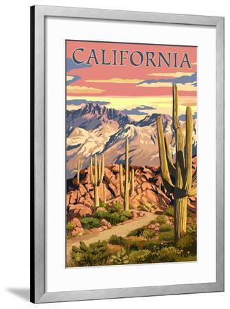 California - Desert Trail Scene-Lantern Press-Framed Art Print