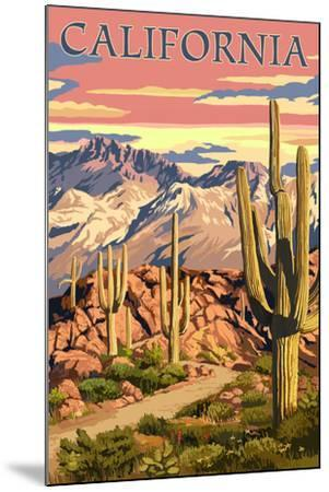 California - Desert Trail Scene-Lantern Press-Mounted Art Print