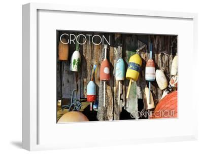 Groton, Connecticut - Buoys-Lantern Press-Framed Art Print