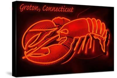 Groton, Connecticut - Lobster Neon Sign-Lantern Press-Stretched Canvas Print