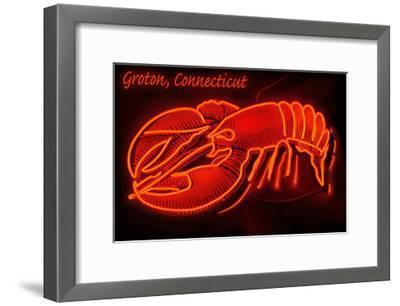 Groton, Connecticut - Lobster Neon Sign-Lantern Press-Framed Art Print