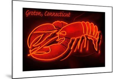 Groton, Connecticut - Lobster Neon Sign-Lantern Press-Mounted Art Print
