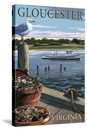 Gloucester, Virginia - Blue Crab and Oysters on Dock-Lantern Press-Stretched Canvas Print