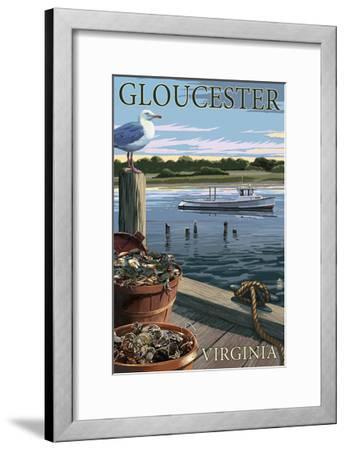 Gloucester, Virginia - Blue Crab and Oysters on Dock-Lantern Press-Framed Art Print