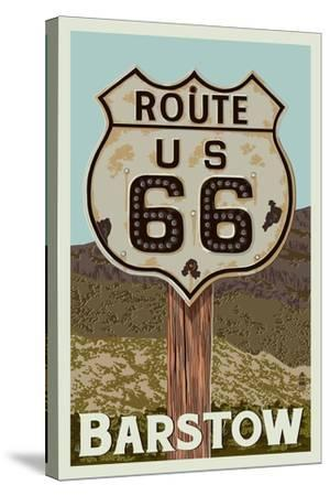 Barstow, California - Route 66 - Letterpress-Lantern Press-Stretched Canvas Print