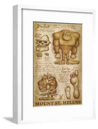 Mount St. Helens, Washington - Bigfoot da Vinci-Lantern Press-Framed Art Print