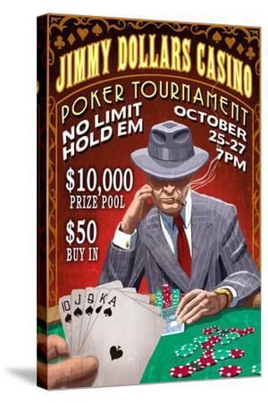 Poker Tournament - Vintage Sign-Lantern Press-Stretched Canvas Print
