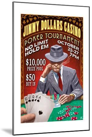 Poker Tournament - Vintage Sign-Lantern Press-Mounted Art Print