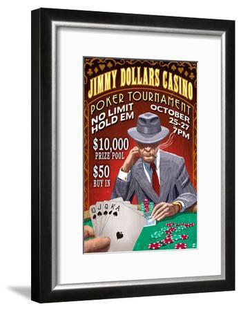 Poker Tournament - Vintage Sign-Lantern Press-Framed Art Print
