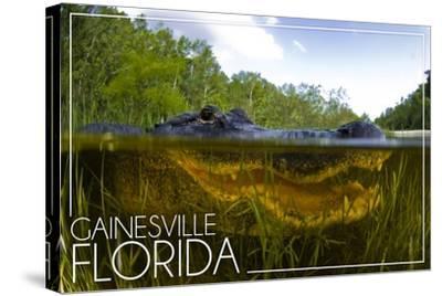 Gainesville, Florida - Alligator Underwater-Lantern Press-Stretched Canvas Print