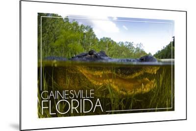 Gainesville, Florida - Alligator Underwater-Lantern Press-Mounted Art Print