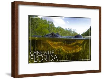 Gainesville, Florida - Alligator Underwater-Lantern Press-Framed Art Print