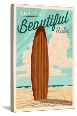 Redondo Beach, California - Life is a Beautiful Ride - Surfboard - Letterpress-Lantern Press-Stretched Canvas Print