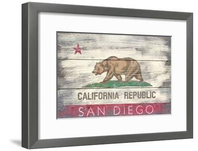 San Diego, California - State Flag - Barnwood Painting-Lantern Press-Framed Art Print