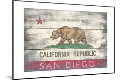 San Diego, California - State Flag - Barnwood Painting-Lantern Press-Mounted Art Print