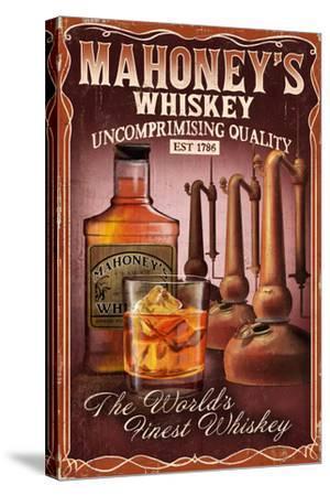 Whiskey - Vintage Sign-Lantern Press-Stretched Canvas Print