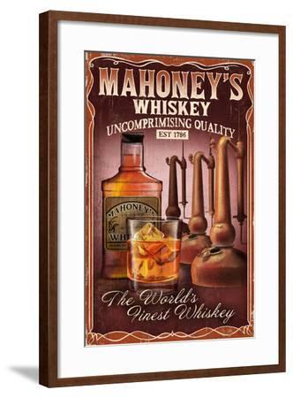 Whiskey - Vintage Sign-Lantern Press-Framed Art Print