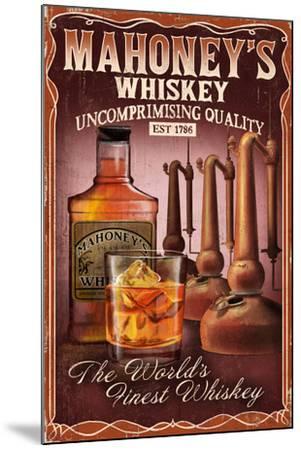 Whiskey - Vintage Sign-Lantern Press-Mounted Art Print