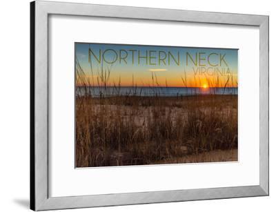 Northern Neck, Virginia - Beach and Sunrise-Lantern Press-Framed Art Print