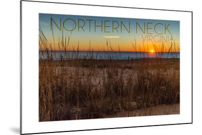Northern Neck, Virginia - Beach and Sunrise-Lantern Press-Mounted Art Print