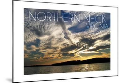 Northern Neck, Virginia - Sunset and River-Lantern Press-Mounted Art Print