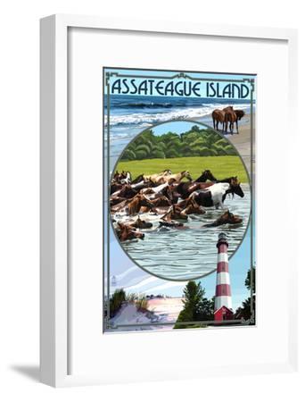 Assateague Island - Montage-Lantern Press-Framed Art Print