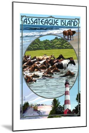 Assateague Island - Montage-Lantern Press-Mounted Art Print