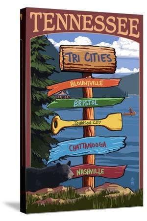 Tennessee - Tri Cities Destination Signpost-Lantern Press-Stretched Canvas Print