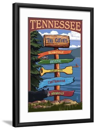 Tennessee - Tri Cities Destination Signpost-Lantern Press-Framed Art Print