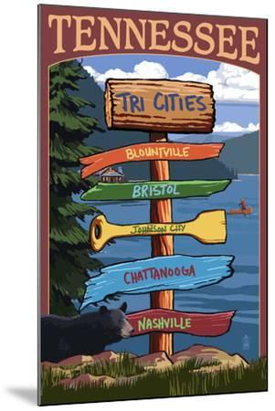 Tennessee - Tri Cities Destination Signpost-Lantern Press-Mounted Art Print
