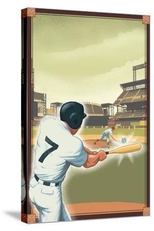 Baseball - Batter-Lantern Press-Stretched Canvas Print