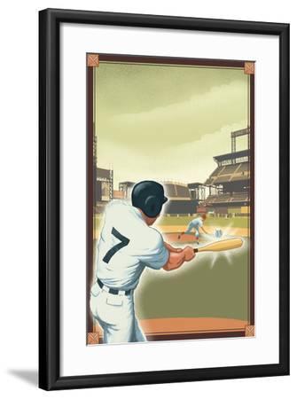 Baseball - Batter-Lantern Press-Framed Art Print
