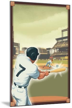 Baseball - Batter-Lantern Press-Mounted Art Print